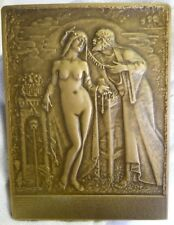 RARE ALPHA OMEGA FRATERNITY 1907-1932 25TH ANNIVERSARY BRONZE PLAQUE / NUDE GIRL