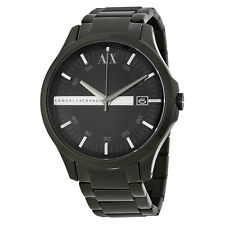 Armani Exchange Hampton Black Dial Black Ion-plated Mens Watch AX2104