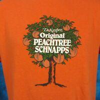 vintage 80s DEKUYPER PEACHTREE SCHNAPPS T-Shirt M/L liqueur alcohol beer thin