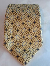 FENDI Tie Made In Italy 100% Silk Mens Neck Tie Pattern Yellow Gold Silver Rings