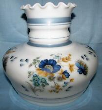 "Vintage Opal White Glass Lamp Shade Blue Floral for 7"" Fitter Motif High Top"