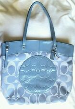 COACH signature tote handbag,  pre-owned,  blue canvas & leather details tote