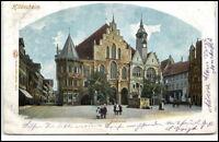 Hildesheim Litho-AK Postkarte 1900 gelaufen Partie am Rathaus Brunnen Personen