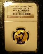 South Africa 2009 Natura Gold 1/4 oz 20 Rand NGC PF-70UC White Rhinocerous