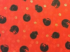 RPG523 Asian Japanese Curled Kitty Cat Kitten Black Neko Cotton Quilt Fabric