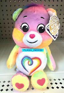 "9"" Togetherness Bear Care Bears Rainbow Heart Stuffed Bean Plush 2021"