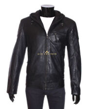 Leather Hooded Other Men's Jackets