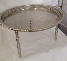 Moroccan Handmade 22 Inch Serving Brass Tea Tray Table W/ 3 Legs Silver African