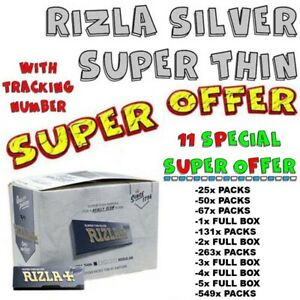 Rizla Silver Smoking Rolling Papers Super Thin RegularSize-11 SPECIAL SUPEROFFER