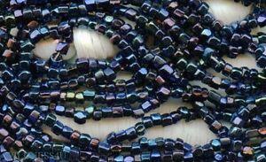 Antique PEACOCK BLUE IRIS SEED BEADS HANK METALLIC sliced 3 CUT CZECH HANK LOT