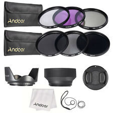 58mm UV CPL FLD ND(2 4 8)Lens Filter Kit Pouch + Hood + Cap for Canon Nikon Q8W3