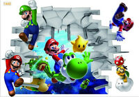 Super Mario Decal Removable Wall Sticker Bedroom Mural Kids Nursery Poster Decor