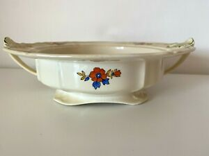 Alfred Meakin Tureen Zenith Shape Shallow Serving Bowl Red Blue Poppy 1930s