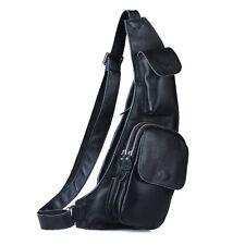 Mens Genuine Leather Chest Bag Sling Backpack Messenger Shoulder Satchel Pack