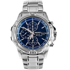New Seiko Steel Chronograph Date Alarm Blue Solar Power Men Watch 45mm SSC141