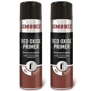 2 x Simoniz Red Oxide Primer Car Spray Paint Acrylic Aerosol Plastic Wood 500ml