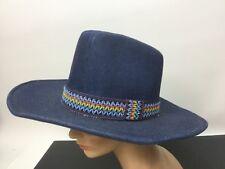 Vintage YA Western Cowboy Hat Blue Denim Color Band 100% Cotton Lg 7-1/4 -7-3/8