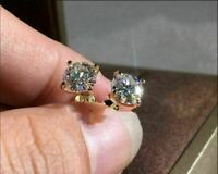 4Ct Round Cut Moissanite Push Back Solitaire Stud Earring 14K Yellow Gold Finish