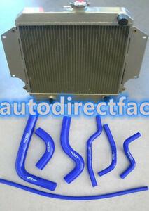 Aluminum Radiator + Blue Hoses for SUZUKI SIERRA 1.0L 1.3L SJ410/413 1981-1996