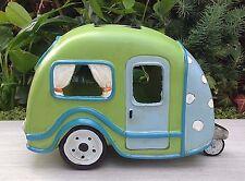 Miniature Dollhouse FAIRY GARDEN ~ Lime Green Camper Trailer House w Solar Light