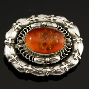 Georg Jensen Silver Brooch with Amber - #109