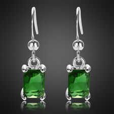 Xmas Jewelry Lady Green Emerald White Gold Plated Dangle Drop Gift Earrings