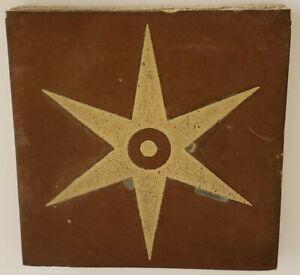 Antique 1800s UNITED STATES ENCAUSTIC TILE CO INDIANAPOLIS Art Pottery STAR Tile