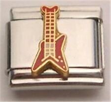 ELECTRIC GUITAR RED & GOLD ENAMEL ITALIAN CHARM 9MM CLASSIC STYLE DIY BRACELET