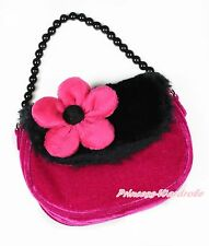 Black Hot Pink Flower Bead Chain Girl Fur Handbag Kid Shoulder Bag Purse