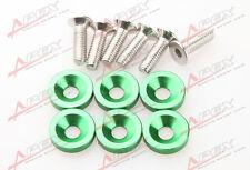 6PCS Green Billet Aluminum Fender/Bumper Washer/Bolt Engine Bay Dress Up Kit