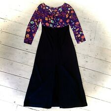 Vintage 1970's Flower Power Maxi Dress Size 12/14