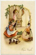 Girl & Boy close to Fireplace with Dog Vintage PC Circa 1930 C