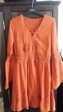 Boho Bohemian Festival Dress Hippie 70's size 8 Burnt Orange Embroidered NEXT