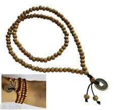 Collana Rosario Mala Tibetana 108+1  con moneta cinese in legno naturale marrone