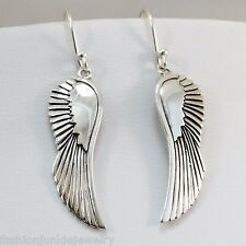 Angel Wing Feather Dangle Earrings - 925 Sterling Silver Angels Wings Faith NEW