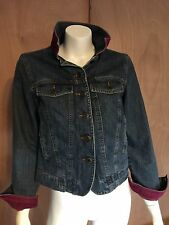 LL Bean Womens Cotton Denim Jean Trucker Jacket Corduroy Collar Cuffs XS