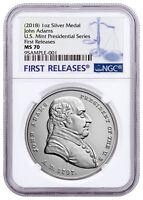 1797-2018 U.S. John Adams 1 oz Silver Presidential Medal NGC MS70 FR SKU55025