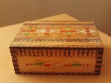 """Vintage Wooden Carved Trinket Box with Red/Green/White Design ~ Roughly 5"""" Long."""