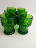 "Mid Century Modern Anchor Hocking Emerald Green Drinking Glasses 4"" Thumbprint"