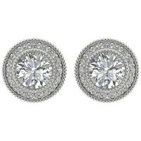 Designer Milgrain Studs Earring I1 G 1.20 Ct Round Diamond 14K White Gold 8.50MM
