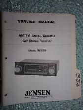 Jensen Re-920 service manual original repair book car stereo radio tape player