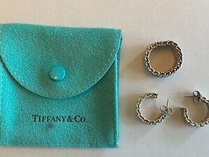 Tiffany & Co. Ring + Earrings SET Somerset  925 Sterling Silver Mesh Weave  SZ 5