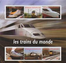Moderno ferrocarril tren viaje Republique Centrafricaine 2012 estampillada sin montar o nunca montada SELLO Sheetlet