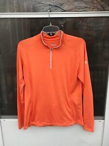 Under Armour HEAT Gear 1/4 Zipper Thumb Holes Orange Running Yoga  Shirt SIZE MD