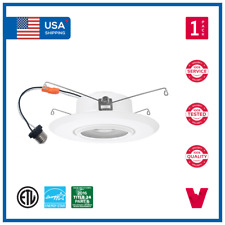 5 In. and 6 In. 15W LED Gimbal Retrofit Downlight Adjustable Recessed Can Trim