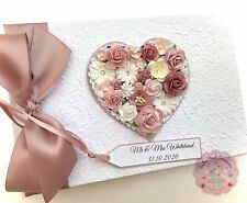 Wedding Guest Book. Rustic Vintage Floral Heart. ALL Colours BOXED. Personalised