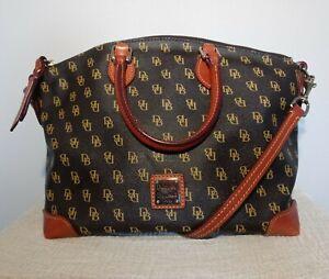 Dooney & Bourke Gretta Signature Dark Brown Satchel Crossbody Purse Bag Handbag