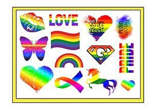 Gay Pride LGBTQ Pride Nail Art Decals or Tattoos ( 3 DIFFERENT DESIGNS )