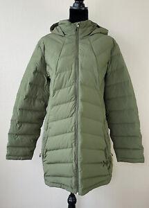 Womens Spyder Lightweight Syrround Puffer Hooded Long Down Coat Green Size XL