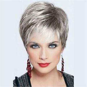 Beautiful Women Wig Short Straight Silver Gray Fashion Female Wig+Wig Cap